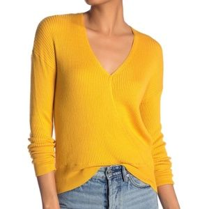 Elodie | Yellow Ribbed Faux Wrap Knit Sweater L